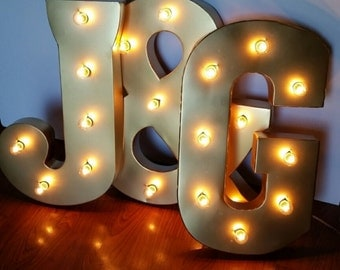 "21"" Gold Light Up Letters Large Marquee Sign"