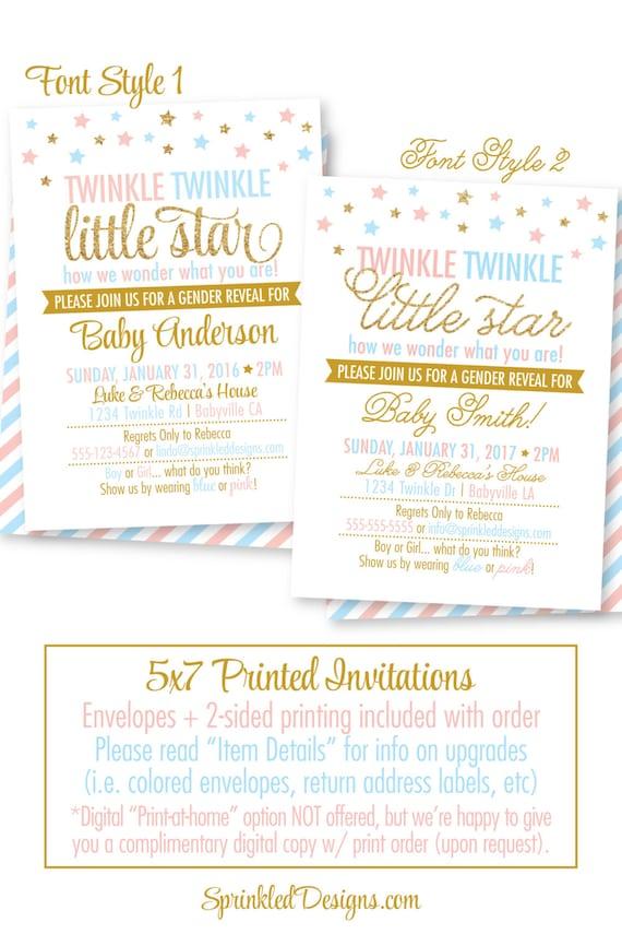 Twinkle Twinkle Little Star Gender Reveal Invitation, Printed ...