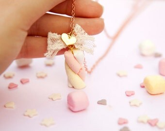 Marshmallow Necklace / Candy Jewelry Pendant / Food jewelry / miniature food / fake food / kawaii necklace jewelry / scented / girly jewelry