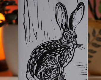 Hare Lino Print A6 Card