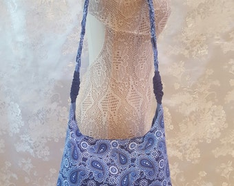 Small Hobo Bag with Braided Strap - Blue Floral and Paisley