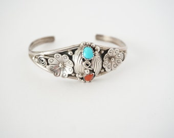 Turquoise and Coral Vintage Native American Sterling Silver Bracelet