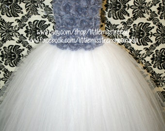 Silver and White Tutu Dress, Flower Girl Tutu Dress, White Flower Girl Dress, Jr Bridesmaid Tutu Dress, White Tutu Dress Silver Flowers