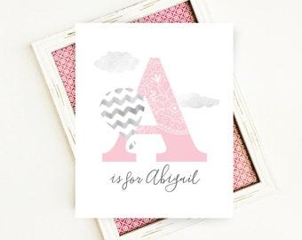 Personalized Nursery Art, Nursery Monogram Printable, Pink Nursery Printable Art, Initial Wall Art Monogram, 8x10 Digital Print