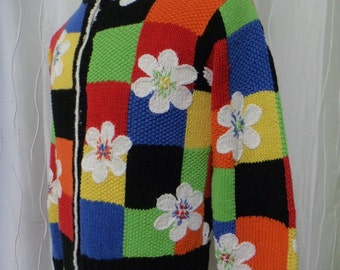 Flowers Sweater, Floral Sweater, (Size: Women's Small), Susan Bristol, Flower Show, Garden Club, Great Condition