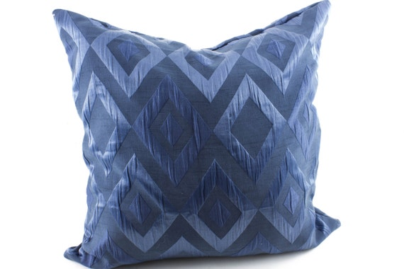 items similar to navy blue silk euro sham 24x24 pillow cover blue accent pillow embellished 3d. Black Bedroom Furniture Sets. Home Design Ideas