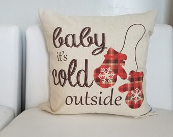 SALE, Christmas pillow cover, Baby its cold outside, Christmas decor, plaid Christmas pillow