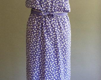 80s Tea Time Tea Length Dress: Blue Silky Paisley (8)