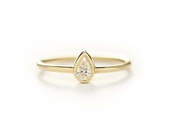 0.15 carat Pear Diamond Engagement Ring In Bezel Setting,Solitaire Pear Diamond Engagement Ring,Simple Wedding Ring