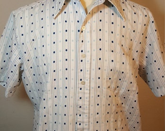 FREE  SHIPPING   1970 Abstract Retro  Men Shirt