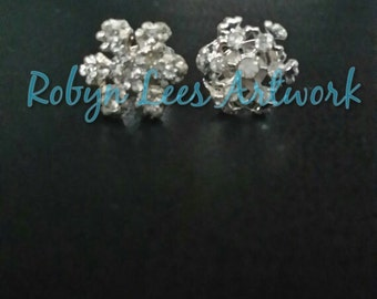 Silver Crystal Snowflake Winter Stud Earrings with Butterfly Backs
