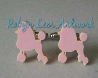 Pale Pink Poodle Dog Laser Cut Cufflinks in Silver, Cuff Links