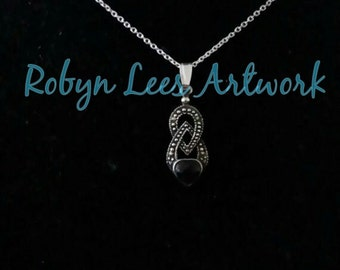 Sterling Silver 925 Vintage Marcasite Onyx Heart Charm Necklace on Fine 925 Sterling Silver Chain