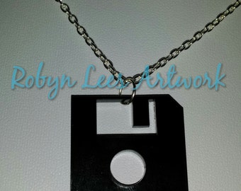 Black Floppy Disc Laser Cut Necklace on Silver or Gold Chain