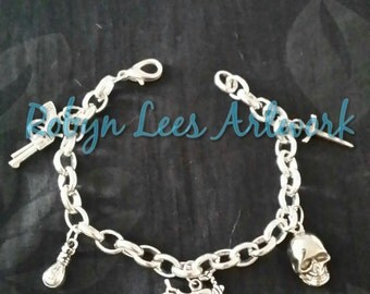 Chunky Silver Biker Bracelet with Skull, Motorbike, Money Bag, Hand Gun and Dagger