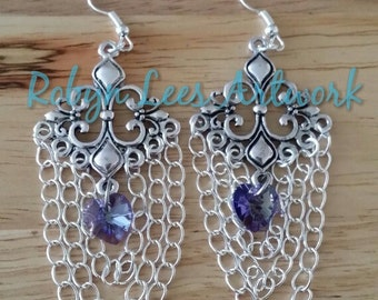 Silver Filigree Chandelier Swarovski Earrings with Tanzanite Purple Crystal Heart