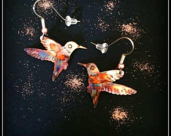 hummingbird earrings, hummingbird jewelry, copper hummingbird, flame painted copper, painting with fire, gifts for mom, mothers day gift