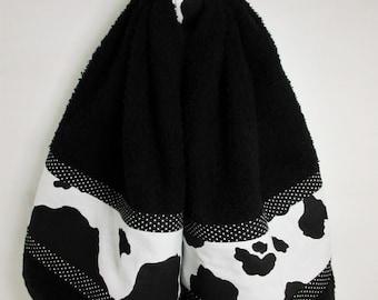 Cow Hand Towel, Cow Print Towel, Handmade Black White Cow Hanging Hand Towel, Cow Kitchen Towel, Farm Kitchen Decor