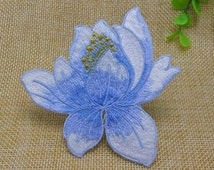 3 Colors Beautiful Lotus Patch Lotus Flowers Iron on Sew on Applique Embroidered Patches 224-HA