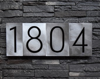 Modern House Numbers - Styx Font in Brushed Aluminum Finish