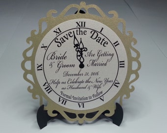 New Year's Eve Wedding Save the Date Cards Set of 12 - NYE Clock