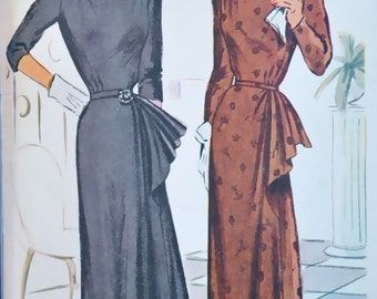 1940s Vintage Dress Pattern, Skirt Detail, size 20 Bust 38, McCalls 7382