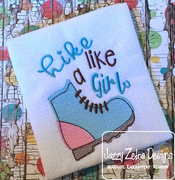 Hike Like a Girl sketch Embroidery Design -  girl sketch Embroidery Design - hiking sketch Embroidery Design - hike sketch Embroidery Design