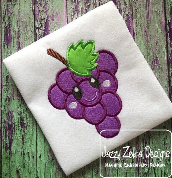 Grapes with Face 104 Appliqué Design - grapes appliqué design - fruit appliqué design