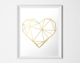 Gold Geometric Heart, INSTANT DOWNLOAD,  Printable Art, Gold Heart, Love Print, Modern Decor, Valentine's Day Art, 16 x 20 Poster