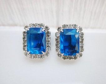 Vintage Blue Sapphire Earrings, Clip On Earrings with Sapphire & Crystal Rhinestones, Blue Rhinestone Earrings, Wedding Bridal Jewelry