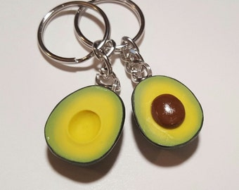 Best Friends Avocado Halves Key Chains, Polymer Clay Food