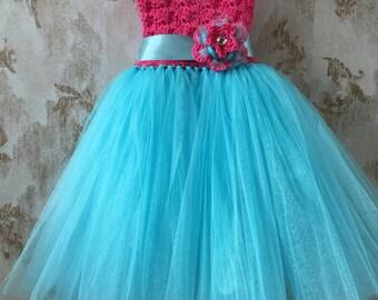 Hot pink and Aqua empire tutu dress, crochet tutu dress, baby tutu dress, toddler tutu dress, wedding tutu dress