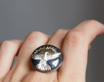 Dove ring, silver and gold ring, statement ring, round ring, sterling silver ring, unique ring, one of a kind ring, bird jewelry