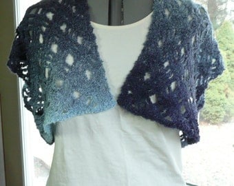 Plus size - Crochet Bolero - Crochet Vest, jacket, Boucle stripes - blue - in stock
