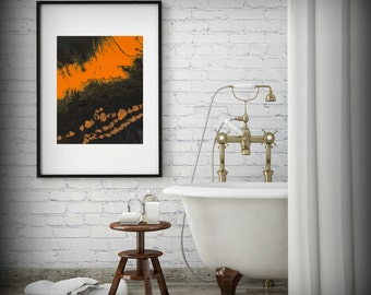 Abstract Art Print, Small Art Print, 8x10 Wall Decor, Small Giclee Print, Orange and Brown, 11x14 Print, Modern Wall Art, Orange Wall Decor