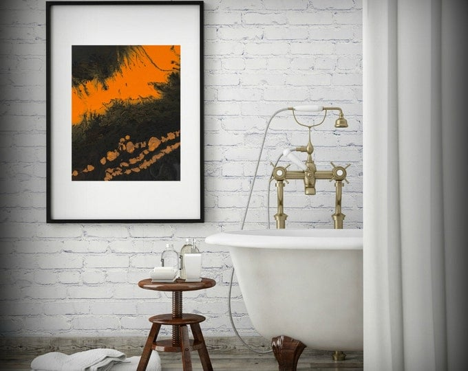 Abstract Art Print, Small Art Print, 8x10 Wall Decor, Small Giclee Print, Orange and Brown, 11x14 Print, Modern Wall Art, Orange Wall Decor