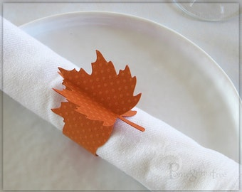 Thanksgiving Table Decor Thanksgiving Decoration Thanksgiving Paper Napkin Rings Autumn Orange Fall Decor Leaf Napkins, Set of 4 Orange LF02