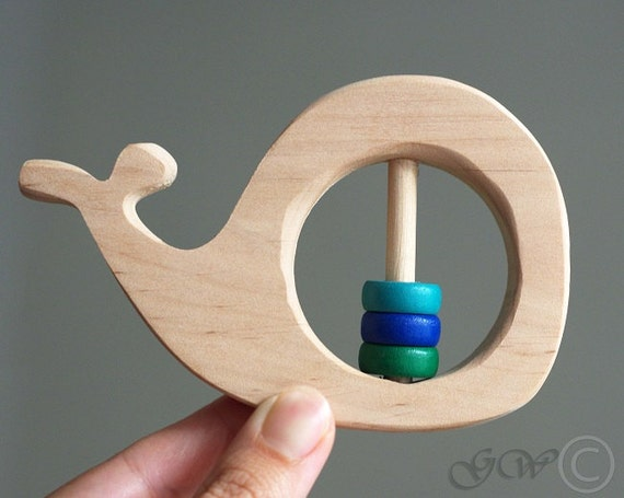 Personalized wooden rattle whale baby rattle baby shower like this item negle Images