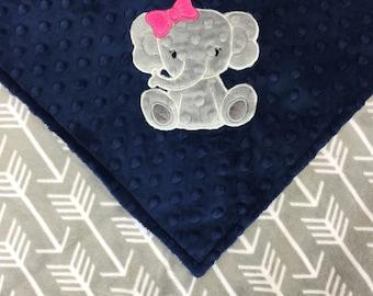 Personalized Minky Baby Blanket, Grey Arrows and Navy Minky, Elephant Blanket, Monogrammed Blanket