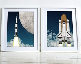 Apollo Rocket and Space Shuttle Space Race Moon Landing Poster Wall Art Hanging Print Home Décor