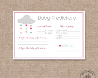 Instant Download Shower/Sprinkle with Love Prediction Cards