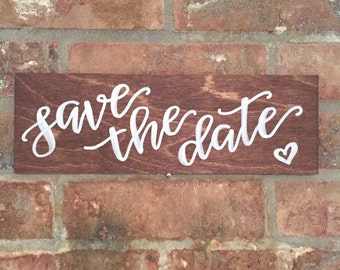 save the date sign / engagement photoshoot / engagement announcement wooden custom sign.