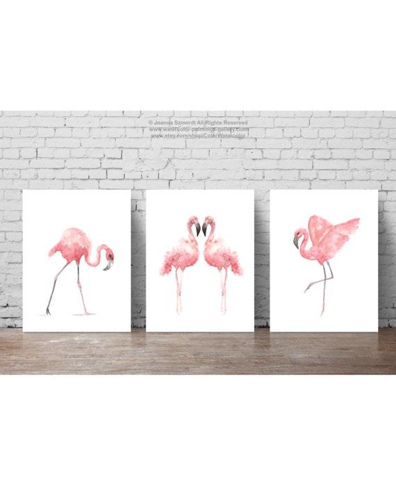 Flamingo Watercolor Painting, Summer Print Tropical Bird Poster Set 3 Flamingos, Pink Birds Animal Art, Kids Nursery Illustration, Baby Girl