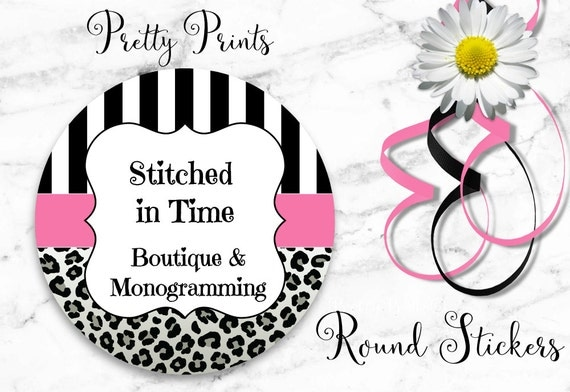 Boutique Stickers - Personalized Stickers - Stripes - Cheetah, Pink, Leopard - Set of 12 Round Labels - Custom Stickers, Labels, Gift Tags