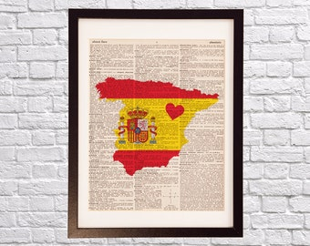 Spain Dictionary Art Print - Spanish Art - Print on Vintage Dictionary Paper - I Love Madrid - España -Spain Print
