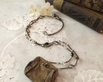 Paris French Flea Market Souvenir Leather Coin Purse Necklace