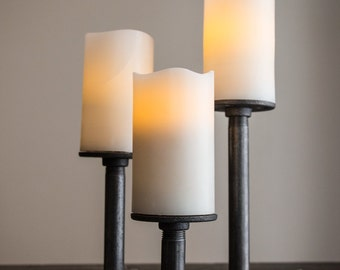 Pipe Candle Holders / Set of 3 w/ Rubber Pads - Industrial Chic Decor - Home Accessories - Pipe Furniture - Table Decoration - Centerpiece