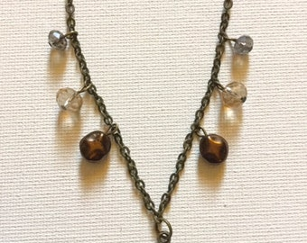 Brass Toned Beaded Heart Necklace