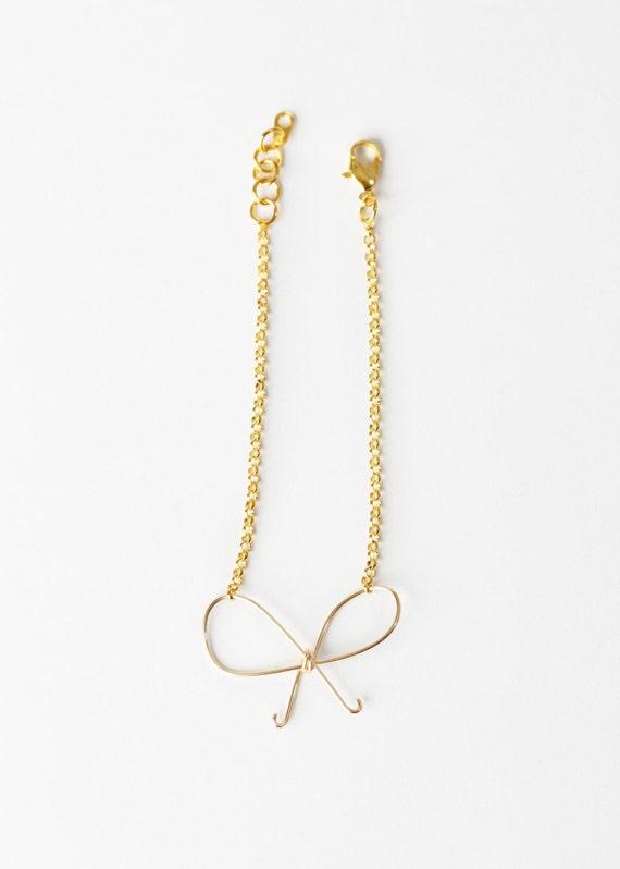 Bow Bracelet - Wire Bow Bracelet - Gold Wire Bow Bracelet - Bow Jewelry - Bridesmaids Jewelry - Bridesmaids Bracelet - Bridal Jewelry