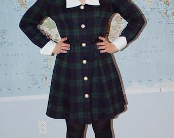 Vintage Women's Plaid Button Up Dress